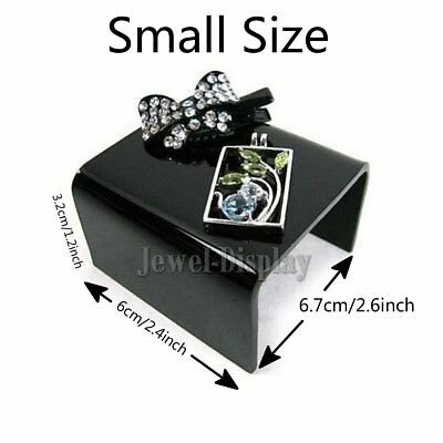 2 x Simple Black Acrylic Earring Hairclips Jewelry Retail Display Small Size