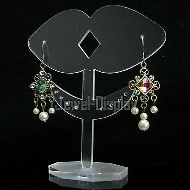 2X Frosted Acrylic Two Hearts Earring Retail Jewelry Display Stand FR154