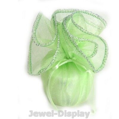 """New 100 New Silver Edge Apple Green Organza Jewellery Favour Gift Wraps 10"""""""
