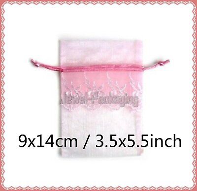 """100 LACE Baby Pink Organza Pouches Wedding Gift Jewelry Bags Drawstring 3.5x5.5"""""""