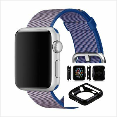 Blue Woven Nylon Wrist Band Strap Bracelet For Apple Watch 38mm Black Case