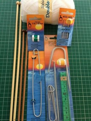 Knitting tool bundle Needles, wool, starter kit,stitch holder and wool needles