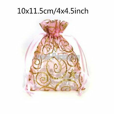 50 x New Pink Organza Pouches Jewelry Favour Drawstring Gift Bags 4 x 4.5 inch