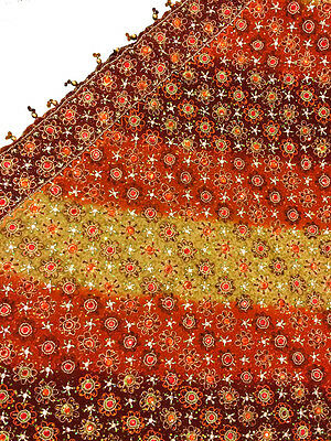 Vintage Heavy Dupatta Antique Women Bridal Long Scarf Embroidered Stole HD1006