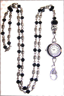 Black Crystal and Silver Beaded Lanyard Necklace / ID Badge with Watch