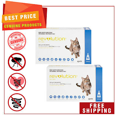 REVOLUTION for Cats 2.6 to 7.5 Kg Blue Pack 12 Pipettes Heartworm treatment