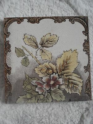 Original Victorian / Antique/ Vintage Tile - Rose & Leaves