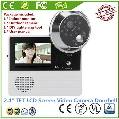"2.4"" TFT LCD Screen Video Camera Door Phone Intercom Home Security Doorbell RTFF"