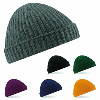 Beechfield Trawler Fisherman Ribbed Cuffed Retro Wooly Beanie Hat | 6 COLOURS