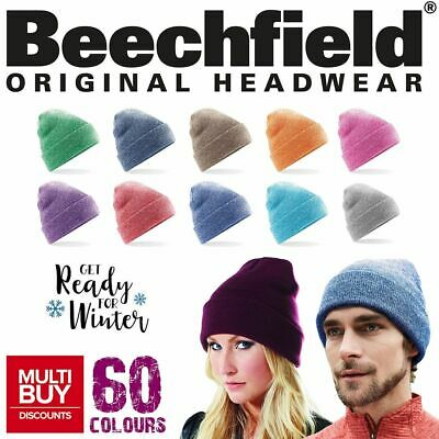 Beechfield Original Ribbed Cuffed Retro Wooly Beanie Hat | 60 COLOURS | ONE SIZE