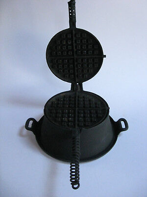 Early Cast Iron Griswold W. M. C. Co. N.Y.  No. 76 Waffle Maker Iron with Base