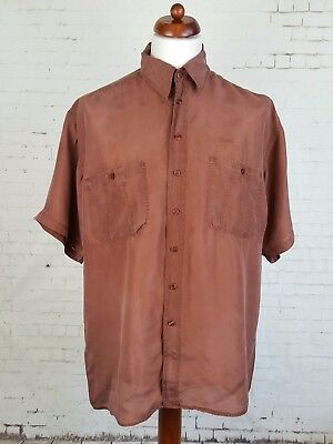 Vtg 90s Short Sleeve Brown Floaty Flouncy Oversize Silk Shirt Urban -L- EH27