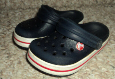 Toddler Crocs Blue, Red and White Size 4/5
