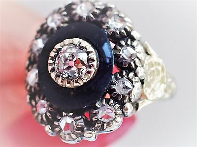 Georgian ROSE HAND CUT DIAMOND Whitby Jet Silver 15K Mourning Cluster RING 1700s