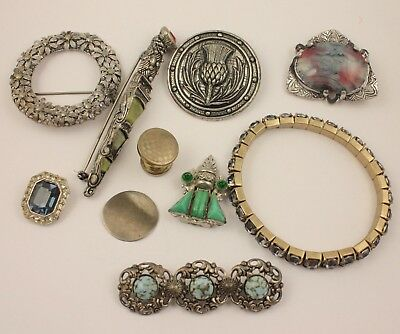 Vintage mixed costume jewellery bracelet coin brooch pin clips Scottish lot
