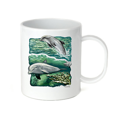 Coffee Cup Travel Mug 11 15 Oz Nature Dolphins Summer Ocean Fish Dolphin
