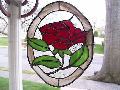 Stained Glass  Rose Sun catcher (Real Glass)
