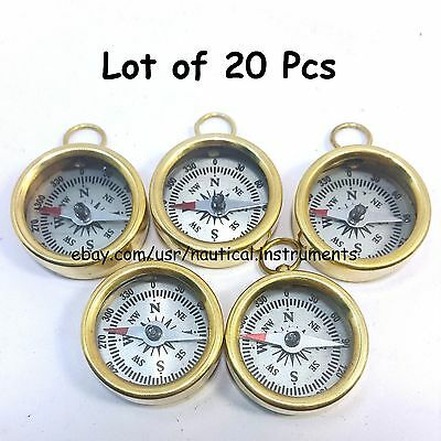 Lot  Of 20 Pcs Vintage Style Solid Brass  White Dial Pocket Compass