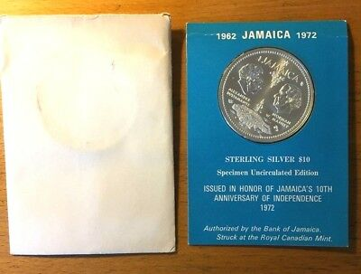 1972 $ 10 Sterling Silver 10th Anniversary of Independence Jamaica Coin