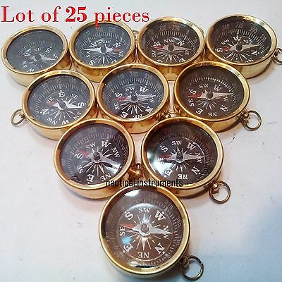 Lot Of 25 Pcs Nautical Maritime Brass Pocket Compass Key Chain