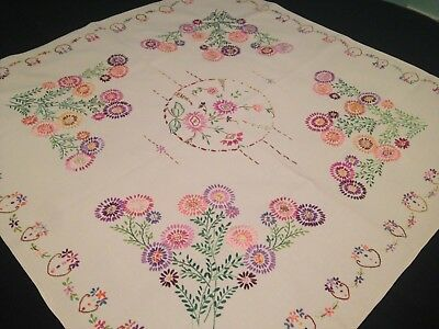 Vintage Hand Embroidered Linen Tablecloth - SUPER VIBRANT FLORAL EMBROIDERY