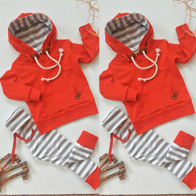 2PCS Newborn Infant Baby Boy Girl Clothes Hooded Tops+Pants Toddler Outfits Set