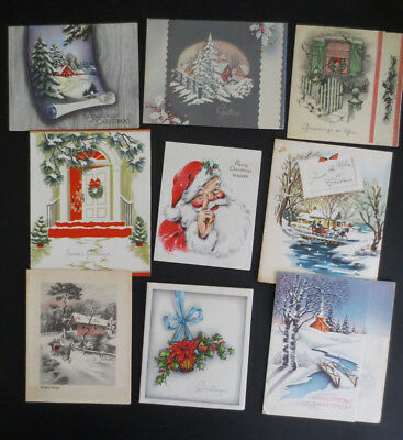 Mid Century Vintage Christmas Card Lot of 9 USED 1940-50's Scrapbooking Crafts