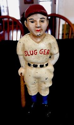 Vintage Antique Cast Iron Baseball Slugger Ruth? Bank