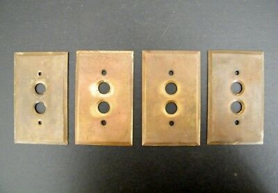 Vintage Lot of 4 Patina Brass Push Button Switch Plate Covers