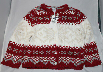 NEW baby Gap NWT Girls's  Red Cotton Fair Isle Nordic Sweater 3XL 3T Pictures