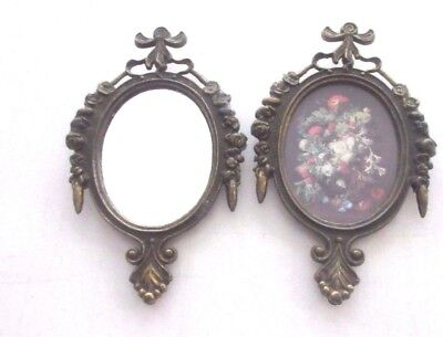 2 VINTAGE Ornate Metal Framed WALL DECOR Scenic & Mirror SMALL SIZE Marked ITALY