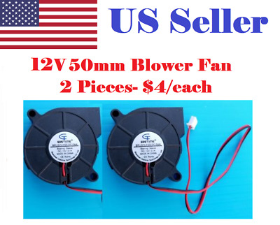2 Pcs 12V Gdstime DC 5015 mm Blower Radial Cooling Fan Hotend Extruder RepRap