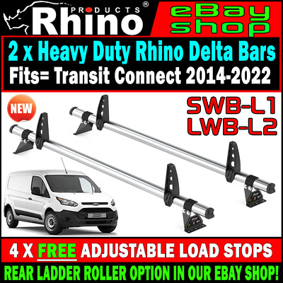 2 x Rhino Delta Van Roof Rack Bars For Ford Transit Connect  2015-2016-2017-2019