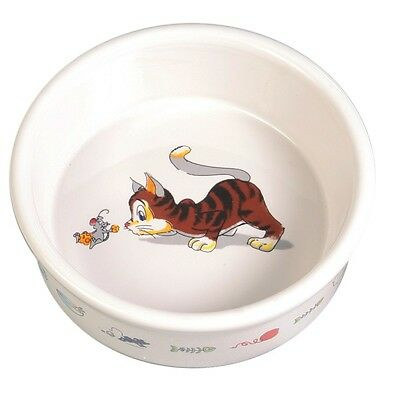Ceramic Cat Kitten Food Water Bowl With Cat & Mouse Design Dishwasher 4007