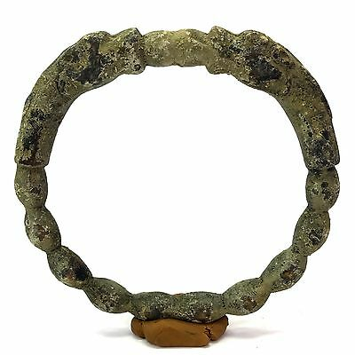 Ancient Excavated Luristan Bronze bangle With Animal On Side #sh447