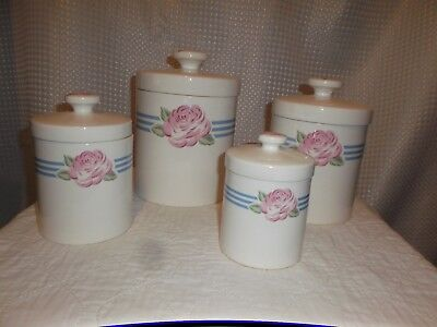 Preowned Mervyn's Japan 4 Piece Set Ceramic Canister--Peony and Stripes Vintage