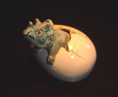 Triceratops Dinosaur Hatching Egg Mexican Hand Painted Sculpture Signed Art NR