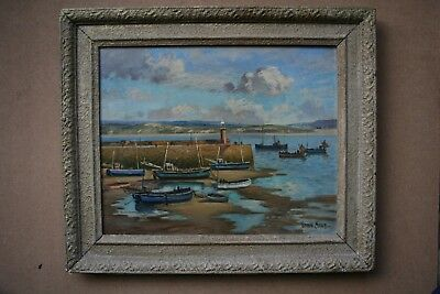 Fine Early 20Th.century Bernard Ninnes Oil Panting On Canvasthe Harbour St. Ives