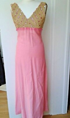 Frank Usher pink evening dress with gold crochet UK small