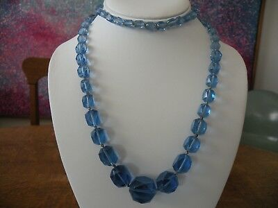 Vintage Art Deco or Czech? Faceted Blue Glass Beads Hand Knotted Necklace 32""