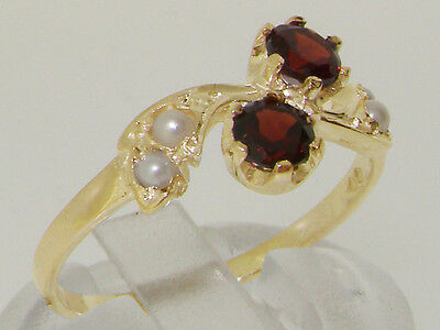 10k Yellow Gold Natural Garnet & Cultured Pearl Womens Band Ring - Sizes 4 to 12