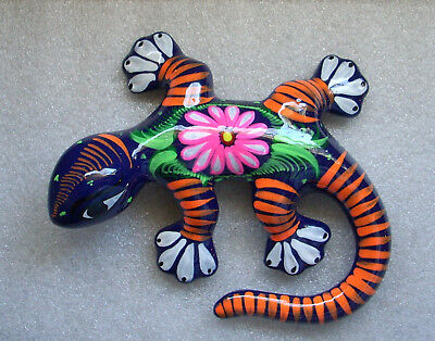 Mexican Folk Art Talavera LIzard Gecko Small Dark Blue 6 inch