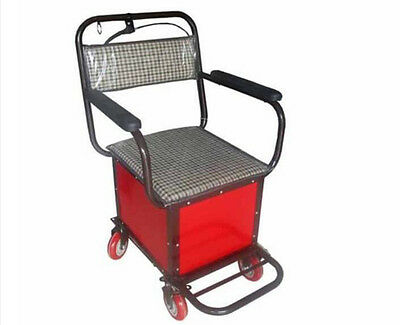Red Four Wheels Convenient Foldable Shopping Luggage Trolleys With Seat #!