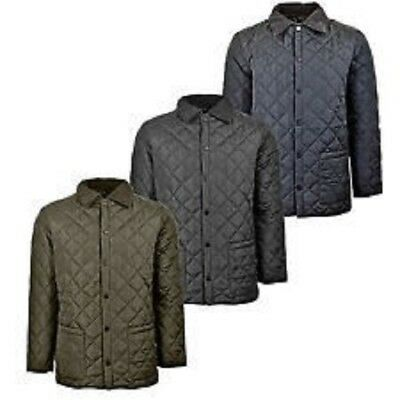 New Mens Diamond Quilted Jacket Coat With 2 Pockets Ideal For Winter