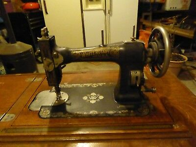 Antique Edwardian WHITE foot petal sewing machine and cabinet
