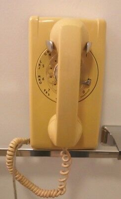 Western Electric 554 Yellow Rotary Wall Phone - Polished and Working - 1963