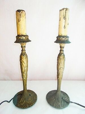 Vintage Solid Brass Table Lamps Design Heavy Antique Ornate PAIR!