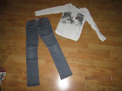 lot jeans slim fille okaidi + t shirt 10 / 12 ans nickel