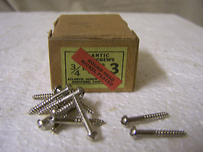 """#3 x 3/4"""" Wood Screws Nickel Plated Round Head Slotted Made in USA  Qty. 144"""