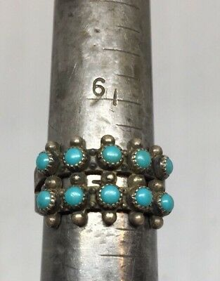 Vintage Zuni Native American Indian Sterling Silver And Turquoise Ring Size 7